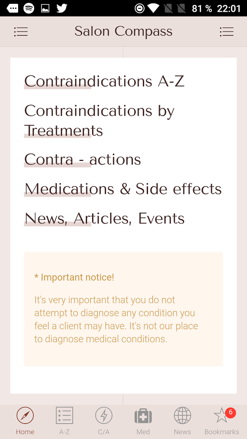 Contraindications in beauty therapy - Contraindications App 1