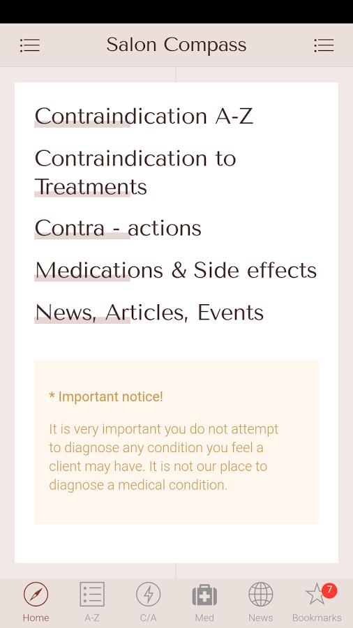 Salon Compass - Contraindications App 1